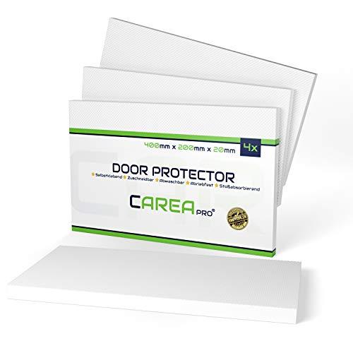 """CAREApro® Garagen Wandschutz (4er, 2cm Stark) - Extra Dick & Selbstklebend - Türkantenschutz Auto\""""Weiß\"""" + Wasserabweisende Oberfläche"""