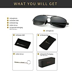 SUNGAIT Ultra Lightweight Rectangular Polarized Sunglasses Man UV400 Protection (Gunmetal Frame Gray Lens, 62) 2458 QKHUK #5