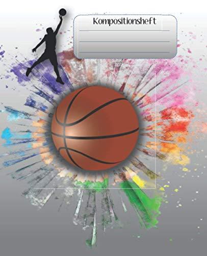 Kompositionsheft: E. |Liniertes Papier| Basketball-Notizbuch | (7,5 x 9,25 Zoll) 110 Seiten | Für Jungen Mädchen Kinder Jugendliche Studenten |