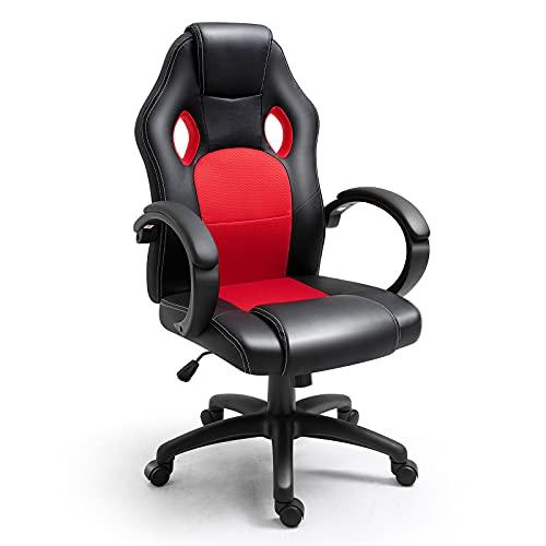 Polar Aurora Office Chair PU Leather High Back Ergonomic Adjustable Racing Desk Chair Task Swivel Executive Computer Chair(Red)