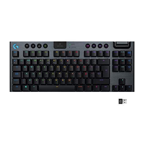 Logitech G915 TKL - Teclado mecánico sin Teclado numérico RGB con tecnología inalámbrica LIGHTSPEED para Gaming, Low Profile Tactile Key Switches, RGB LIGHTSYNC, QWERTY Español - Negro