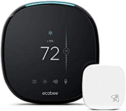ecobee4 Smart Thermostat with Built-In Alexa, Room Sensor Included (Renewed)
