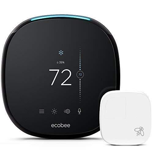 ecobee4 Smart Thermostat with Built-In Alexa, Room Sensor Included (Renewed)