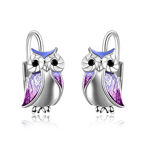 YFN Wise Owl Earrings Sterling Silver Purple Owl Jewellery Gifts for Women Girl