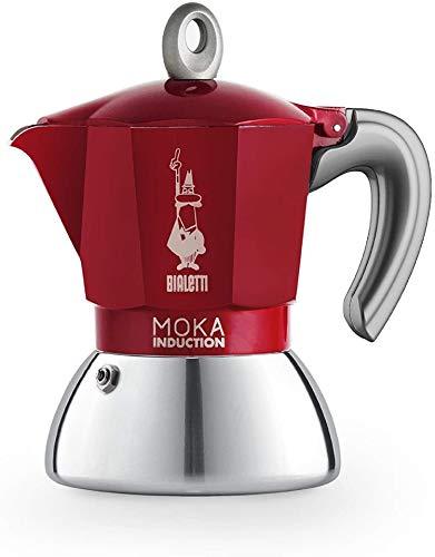 Bialetti Moka Induction, Cafetera apta para inducción de 90 ml, Rojo, 2 Tazas