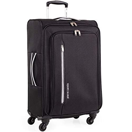 Soft Shell 27 Inch Suitcase with x4 Spinner Wheels - Cion Soft Case by Pierre Cardin | Durable & Quality Tested Soft Sided Luggage | Light 2.5 Kg 69cm 71 litres Capacity CL610 (Medium, Black & Grey)