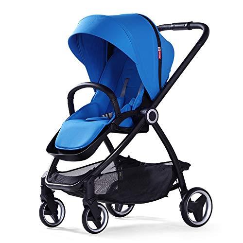 WYX-Stroller Kinderwagen Warenkorb Zwei-Wege-Hochland Kinderwagen Licht Falten Tragbaren Kinderwagen,Blue