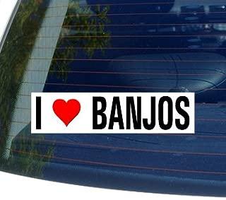 I Love Heart BANJOS - Window Bumper Sticker