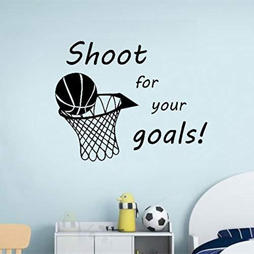 Disparar para su objetivo baloncesto vinilo calcomanía de pared pegatina decoración de la sala de arte diseño mural decoración de la habitación del niño52x42cm