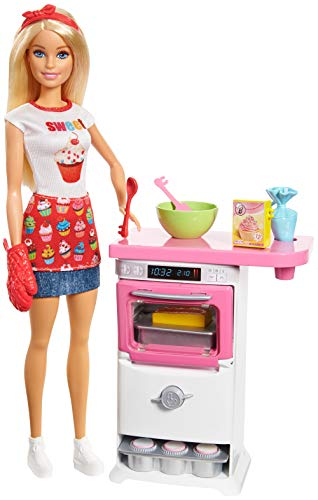 Barbie FHP57 CAREERS Baking Feature Doll and Playset Accessories, Blonde, Gift for 4 to 9 Years Child, Multi-Colour