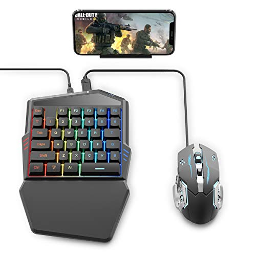 IFYOO Gaming Keyboard and Mouse Combo Set for Mobile Phone Games Controller Adapter, Compatible with iPhone/iPad/iOS/Android Phone, Compatible with PUBG Mobile/Fortnitee Mobile/Call of Duty