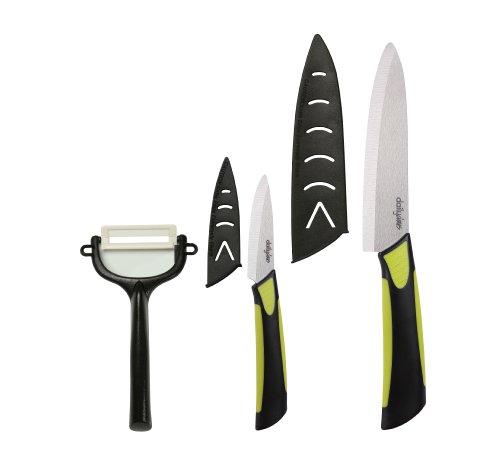Dailycious DC-0044 - Set di 3 Utensili da Cucina in Ceramica, con 1 Coltello da Chef 15 cm + 1 spelucchino 12,5 cm + 1 sbucciatore