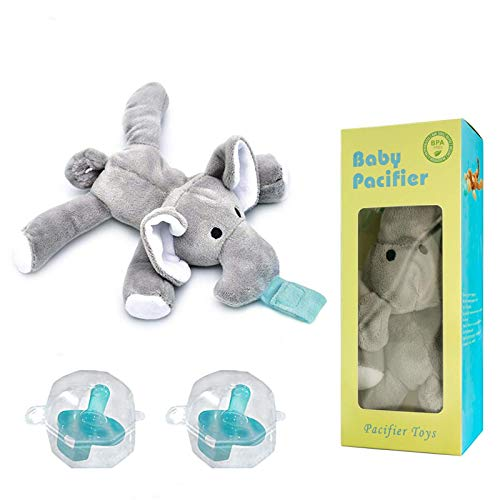 Myfolrena Pacifier Animal Holder, 6-24 Month Infant Pacifiers Removable Baby Pacifier Holder with Plush Toy(Elephant)