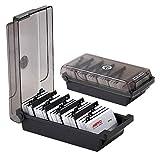 Heheng Caja de 500 tarjetas de visita con divisores y pestañas de índice, alternativa a la cartera de tarjetas de visita, titular de tarjetas de visita y archivo rotativo
