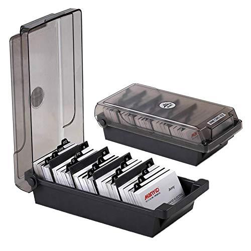 Heheng - Caja de tarjetas de visita con separadores y pestañas de índice (500 tarjetas, tarjetero, tarjetero, tarjetero y archivador giratorio)