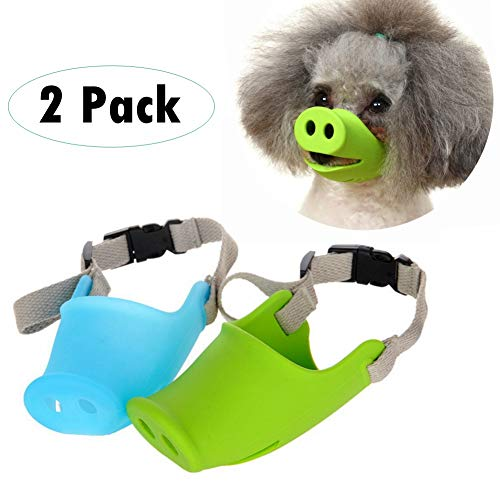 """2 Pack Adjustable Dog Muzzle for Small Medium Breeds Dogs,Anti Bite Silicone Pets Mouth Cover with Pig Mouth Shape,Best to Prevent Biting, Screaming,Chewing and Barking(Blue & Green) (S: 3.82""""2.36"""")"""