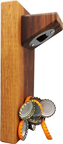 Sternenfarm - Apribottiglie da parete magnetico in pregiato legno di noce, oliato
