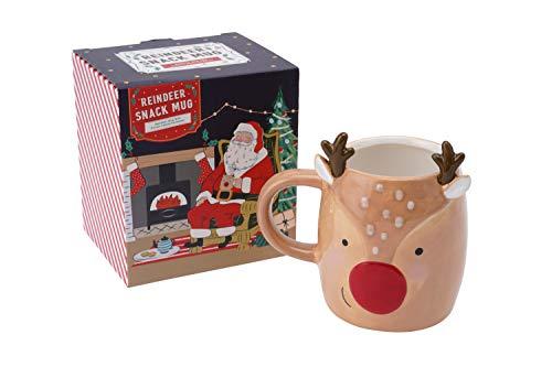 Neuheit Snack Cookie and Mince Pie Halter Rentier Rudolph Weihnachten Tasse Keramik Kaffee Tee heiße Milch Schokolade in Geschenkbox | GB05172