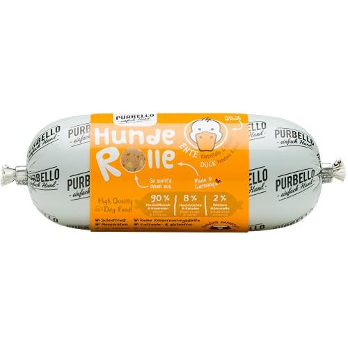 PURBELLO Hunde-Rolle Ente mit Kartoffeln & Kräutern - Monoprotein Hundefutter mit hohem Fleischanteil - Nassfutter für Hunde - Hundewurst schnittfest & getreidefrei - 8 x 200 g