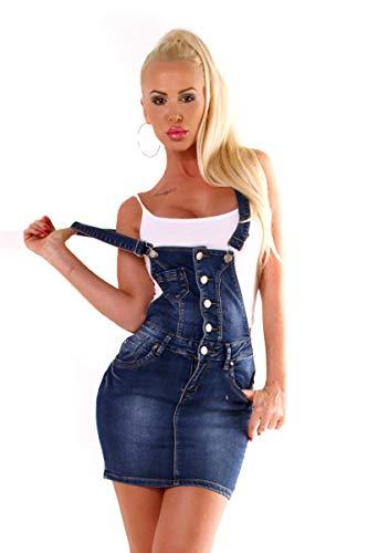 OSAB 4592 Fashion Damen Jeans Rock Latzrock Jeansrock Minirock Träger Slimline Streetwear