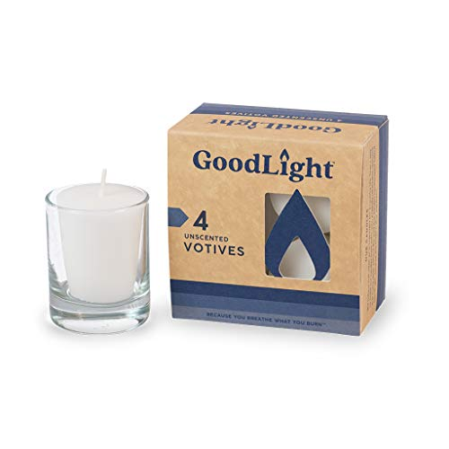 GoodLight Paraffin-Free Unscented Votive Candle, 4-Count