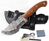 Moorhaus Handmade Random Damascus G10 Brown Micarta Tracker Knife with Leather Sheath
