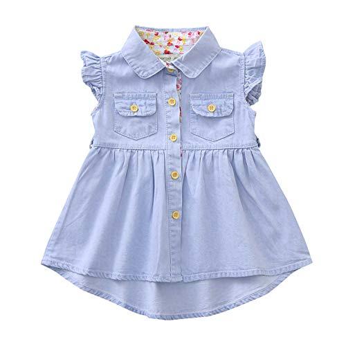 Vestido de Princesa Niña Volantes Mezclilla con Bolsillo Sin Mangas Ropa Bebés Niñas Vestidos Bebé Niña Recién Nacido (Azul Claro, 6-12 Meses)