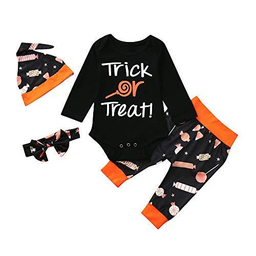 FELZ Halloween Disfraz Bebe Ropa Mameluco Carta para bebé recién Nacido Tops de Manga Larga + Pantalones Estampados de Dibujos Animados + Gorra Conjuntos de Ropa de Halloween 3 Piezas
