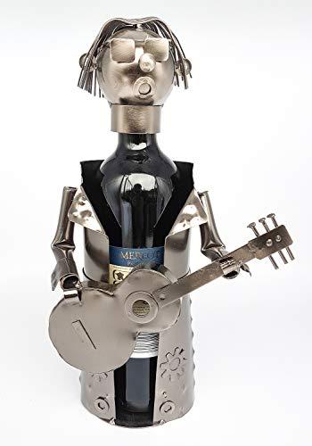 Moderner Wein Flaschenhalter Gitarrist aus Metall Höhe 31,5 cm