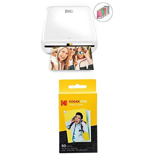 KODAK Step Instant Printer | Bluetooth/NFC Wireless Photo Printer with ZINK Technology & KODAK App for iOS & Android (White) Prints 2x3 Inch Sticky-Back Photos + Kodak Zink Photo Paper - Pack of 50