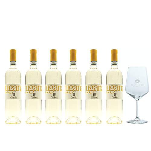 Sparpaket Cà Maiol Lugana DOP 2019 (6 x 0,75l) mit Spiegelau Senti Vini Weinglas