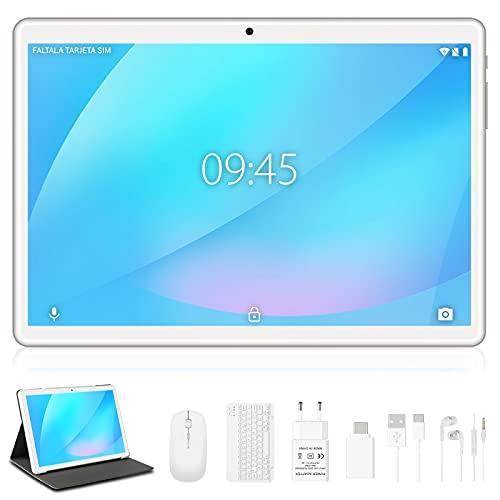 Tablet 10 Pollici 4GB RAM + 64GB ROM con Doppia LTE SIM e Wi-Fi, Android 10 Originale YESTEL X7 Tablet con Tastiera e Mouse, Schermo HD | 5MP + 8MP | Bluetooth | OTG | Espandibili Fino 128GB -Argento