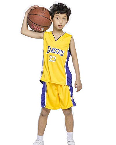 Conjunto De Uniforme De Baloncesto Para Fanáticos De Jersey Para Niños Mallas Bordadas NBA Lakers 23 Shorts De Jersey De Baloncesto James Chicago Bulls,Yellow-M