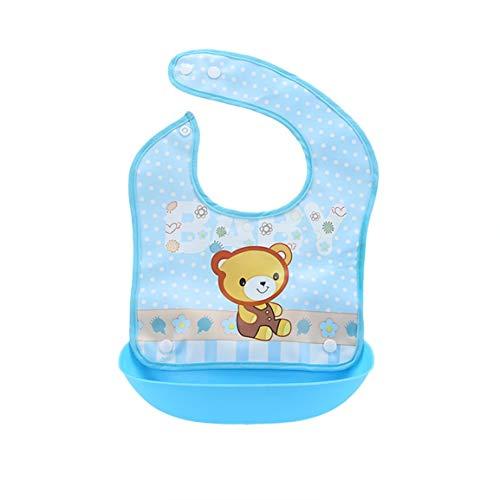 Kinder Lätzchen Stereo Wasserdicht und abnehmbar Silikon Baby Mund Handtuch Baby Essen Lätzchen Babynahrung Tasche - Blue Bears