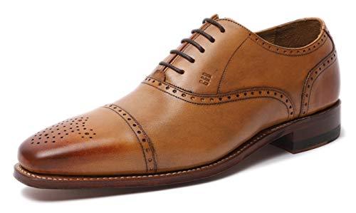 Gordon & Bros, scarpe da uomo classiche Lucquin 2830, basse, con cucitura classica, chiusura con lacci con allacciatura Oxford, con suola in cuoio e punta decorata, con lavorazione Goodyear, Marrone (marrone), 45 EU