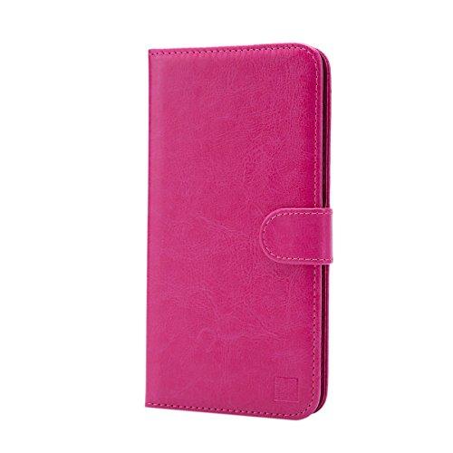 32nd PU Leder Mappen Hülle Flip Case Cover für BlackBerry DTEK50, Ledertasche hüllen mit Magnetverschluss & Kartensteckplatz - Hot Pink