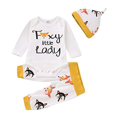 0-24M recién nacidos niños niñas manga larga Tops mameluco dinosaurio Fox pantalones sombrero trajes para bebé niño pequeño - - 0-6 meses
