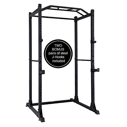 PAPABABE Power Rack Power Cage Workout Station Home Gym for Weightlifting Bodybuilding and Strength Training (1200lb Capacity with 2 Extra J-Hooks)