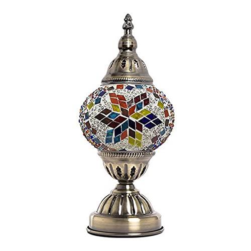 MINGRT Lámpara Mesilla de Noche Turca E27 Lampara de Mesa Pantalla de Cristal y Base de Bronce Mosaico Lámpara de Oficina,26 * 11CM (Color : E)