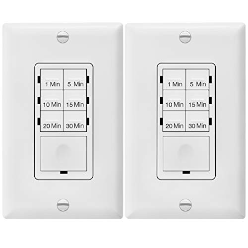 ENERLITES Countdown Timer Switch for bathroom fans and household lights, 1-5-10-15-20-30 Min Settings with Manual Override, Always On Blue LED, Neutral Wire Required, UL Listed, HET06A, White, 2 Pack