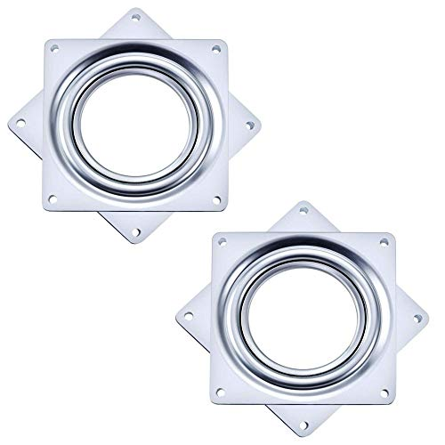 Liyafy 6 Inch Square Duty Rotating Hollow Turntable Bearing Swivel Plate Hardware for Kitchen Dining Table 2Pcs
