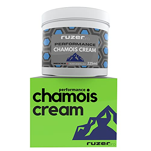 RUZER Performance Luxury Chamois Cream 225ml anti chafing moisturiser for Athletes & cyclists and intense sports running hiking soothing