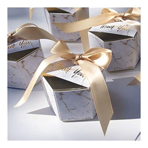 LOOEST 50pcs / Lot Marbling Estilo favores de la Boda del rectángulo de Regalos y Fiesta Dulces Cajas de artículos for bebés de Papel Ducha Cajas de Chocolate Paquete Gift (Color : Gold)