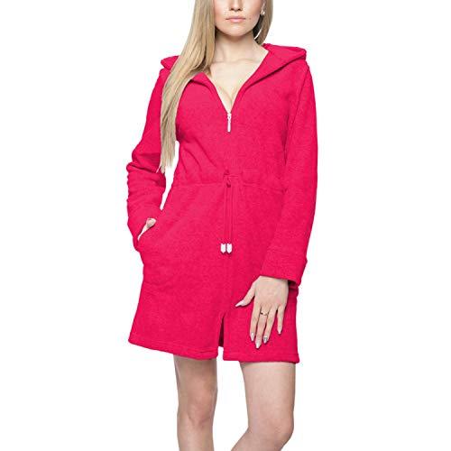 Aquarti Damen Morgenmantel mit Kapuze und Reißverschluss, Farbe: Pink, Größe: 3XL