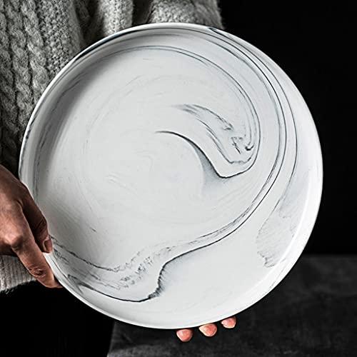 Pcwl Tablero de cerámica de 10.2 Pulgadas, Textura de imitación de Piedra, Tablero Blanco Esmerilado, lavavajillas, Horno de microondas y Apto para Horno