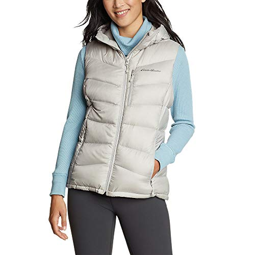 Eddie Bauer Women's Downlight 2.0 Hooded Vest, Cement Plus 3X
