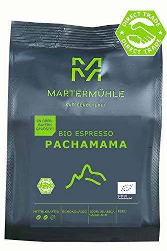 Martermühle I Bio Espresso PachaMama I Espresso ganze Bohnen I Espressobohnen aus Peru I Premium Espressobohnen I geröstete Espressobohnen I Espressobohnen säurearm I 100% Arabica I 500g