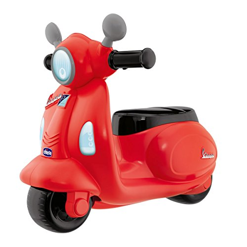 Chicco Motorrad Rutscher für Kinder Vespa Primavera, Kinderfahrzeug mit Elektronischem Bedienfeld, Lichtern und Geräuschen, Abnehmbare Stützräder, Max 25 kg, Kinderspielzeug von 1-3 Jahren