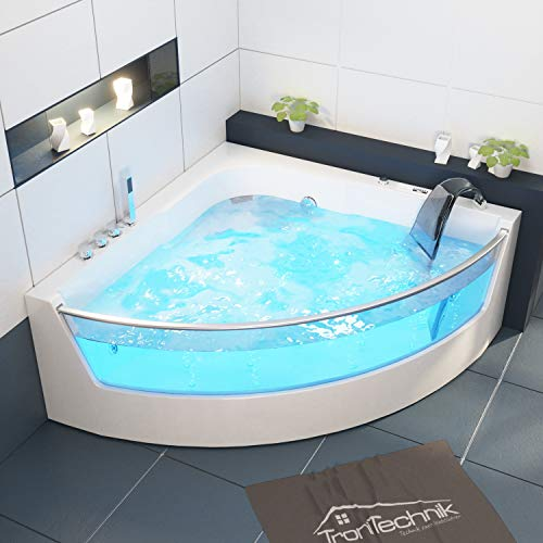 Tronitechnik Whirlpool Badewanne Samos mit Schiene 150cm x 150cm inkl. Heizung, Hydromassage und Farblichtherapie