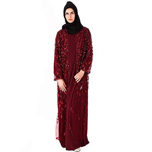 Moojm Dames moslimen cardigans jurk lang geborduurd met riem Middelste Islache jurk Maxi volledige lengte Arabisch Cocktail Kaftan Ramadan Abaya